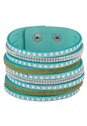 www.snowfall-fashion.fr - Bracelet wrap en daim artificiel avec strass 17-20cm