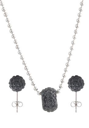 www.snowfall-beads.de - Set von Edelstahl Halskette und Metall Ohrsteckers mit polymerton und Strass
