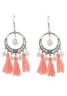 www.snowfall-beads.nl - Metalen oorbellen met kwastjes 8x4cm - J03699