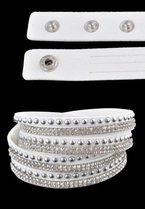 www.snowfall-fashion.co.uk - Imitation suede wrap bracelet double with strass 17-19cm