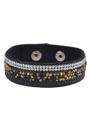 www.snowfall-beads.co.uk - Imitation suede bracelet with strass 16-18cm