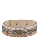 www.snowfall-beads.com - Imitation suede bracelet with strass 16-18cm - J03755