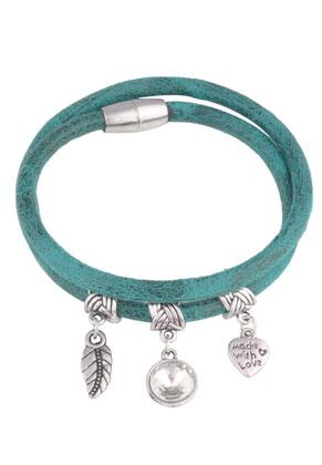 www.snowfall-perles.be - Bracelet en cuir artificiel avec pendentifs 19cm