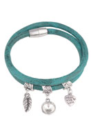 www.snowfall-beads.com - Imitation leather bracelet with charms 19cm - J03771