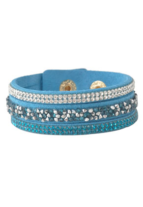 www.snowfall-fashion.fr - Bracelet en daim artificiel avec strass 16-18cm