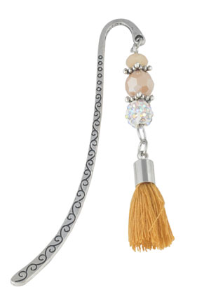 www.snowfall-beads.com - Bookmark with tassel and strass 86x14mm