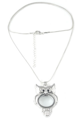 www.snowfall-beads.fr - Collier de métal avec Floating Charm Locket hibou 62cm