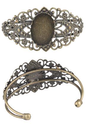 www.snowfall-beads.de - Metall Stulpe-Armband mit Fassung für 25x18mm Kleibstein