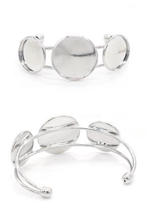 www.snowfall-beads.de - Metall Stulpe-Armband mit Fassungen für 16mm und 20mm Kleibsteine
