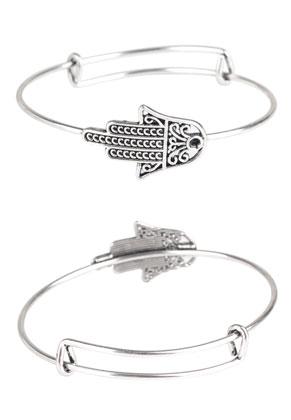 www.snowfall-beads.fr - Bracelet bangle à breloques avec main de Fatima 21cm avec cadre pour 2,5mm imitation de diamant
