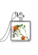 www.snowfall-beads.com - Metal necklace 59cm with glass pendant with flowers - J03895