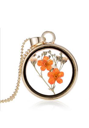 www.snowfall-beads.be - Metalen halsketting 59cm met glashanger met bloemen