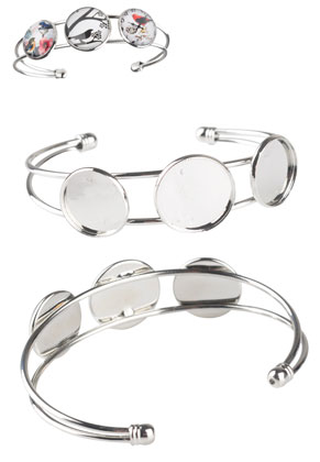 www.snowfall-beads.com - Metal cuff bracelet with settings for 16mm and 18mm flat backs