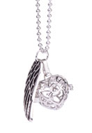 www.snowfall-beads.com - Necklace with angel caller/Prayer Box heart and pendant wing 65cm - J04026