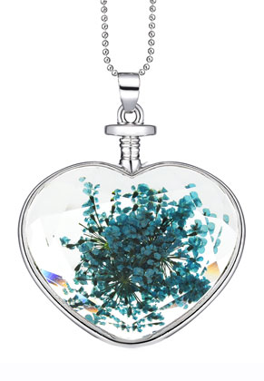 www.snowfall-beads.co.uk - Necklace with glass pendant with dried flowers 80cm