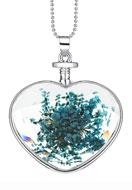 www.snowfall-beads.de - Halskette mit Glasanhänger mit Trockenblumen 80cm - J04072