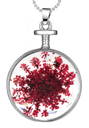 www.snowfall-beads.be - Halsketting met glashanger met gedroogde bloemen 80cm