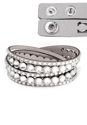 www.snowfall-beads.com - Imitation suede wrap bracelet with strass 17-18cm