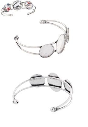 www.snowfall-beads.com - Metal cuff bracelet 18,5cm with settings for 18mm and 25x18mm flat backs