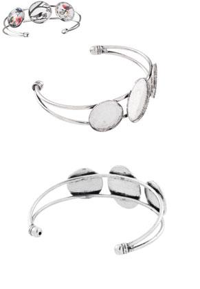 www.snowfall-beads.fr - Bracelet manchette en métal 18,5cm avec cadres pour 18mm et 25x18mm cabochons