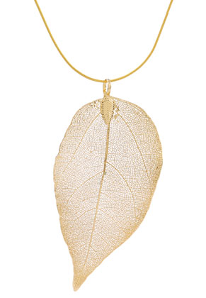 www.snowfall-beads.com - Necklace with pendant leaf 60cm