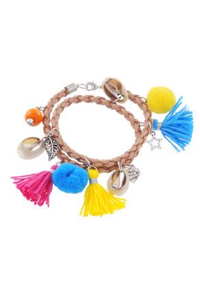 www.snowfall-beads.be - Imitatieleren wikkelarmband met accessoires 41x4cm
