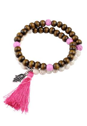 www.snowfall-beads.es - Pulsera con piedras naturales y borla 17cm
