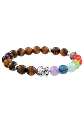 www.snowfall-perles.be - Bracelet en pierre naturelle Rainbow Chakra 17,5cm