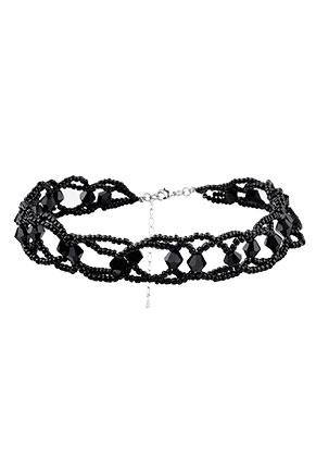 www.snowfall-beads.fr - Choker avec perles en verre 38-42cm, 2,5cm largeur