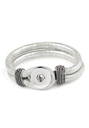 www.snowfall-beads.nl - DoubleBeads EasyButton imitatieleren armband 18cm