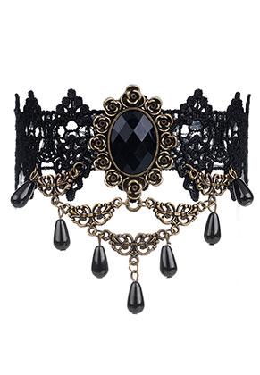www.snowfall-beads.fr - Choker en dentelle 30-37cm