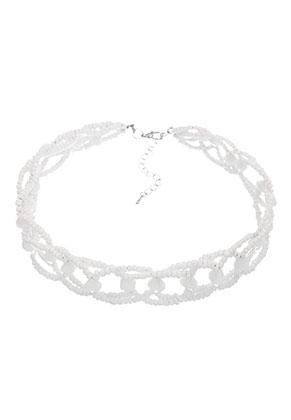 www.snowfall-beads.fr - Choker avec perles en verre 34-40cm, 2,5cm largeur