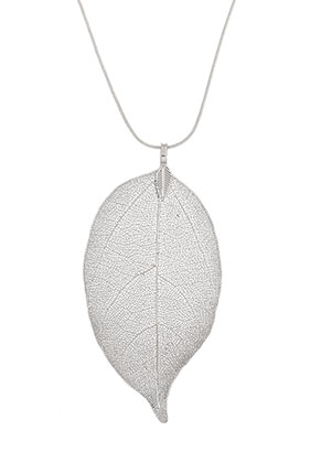 www.snowfall-beads.co.uk - Necklace with pendant leaf 60cm