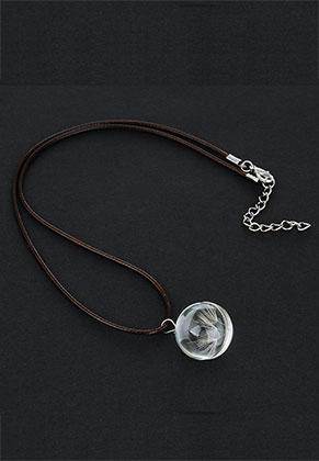 www.snowfall-beads.fr - Collier avec pendentif en verre avec pissenlit 42-47cm
