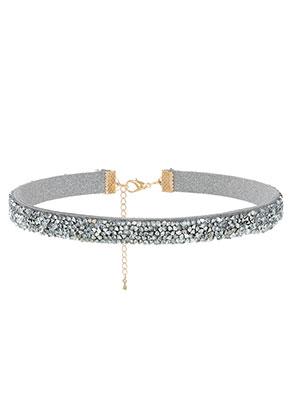 www.snowfall-beads.de - Choker mit Strass 30-37cm, 1cm breit