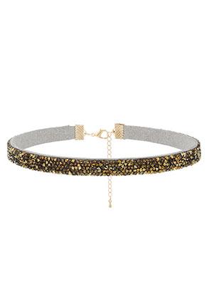 www.snowfall-beads.fr - Choker avec strass 30-37cm, 1cm largeur