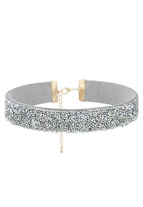 www.snowfall-beads.fr - Choker avec strass 29-36cm, 2cm largeur