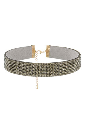 www.snowfall-beads.be - Choker met strass 29-36cm, 2cm breed