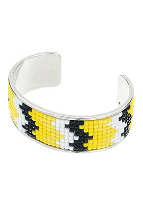 www.snowfall-beads.com - Brass cuff bracelet with mosaic 20cm, 2,5cm wide