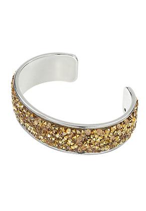 www.snowfall-beads.nl - Brass cuff armband met strass 20cm, 2cm breed