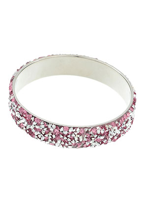www.snowfall-beads.be - Metalen bangle armband met strass 22cm, 1,6cm breed