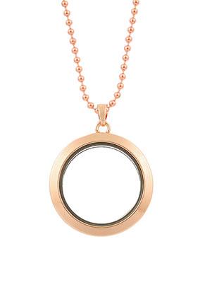 www.snowfall-beads.de - Brass Halskette mit 'floating charm locket', rund 80x3,5cm