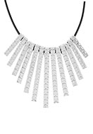 www.snowfall-fashion.com - Wax cord necklace with metal pendants 43cm - J04694