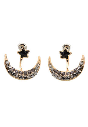 www.snowfall-beads.nl - Metalen oorstekers ear jacket met strass 23x20mm