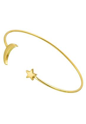 www.snowfall-perles.be - Bracelet en brass manchette avec lune et étoile 17,5cm