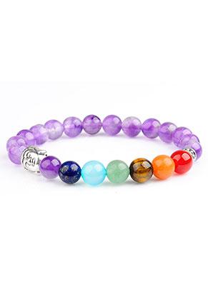 www.snowfall-beads.nl - Natuursteen armband Rainbow Chakra 17cm