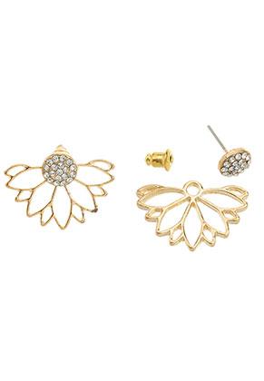 www.snowfall-beads.be - Metalen oorstekers ear jacket met strass bloem 24x17mm