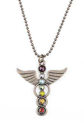 www.snowfall-perles.be - Collier avec ange Rainbow Chakra 80cm