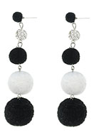 www.snowfall-beads.com - Bonbon earrings with pompoms 95x25mm - J05002