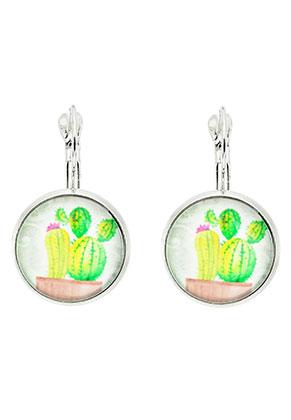 www.snowfall-beads.nl - Metalen klap oorbellen met cactus print 30x18mm